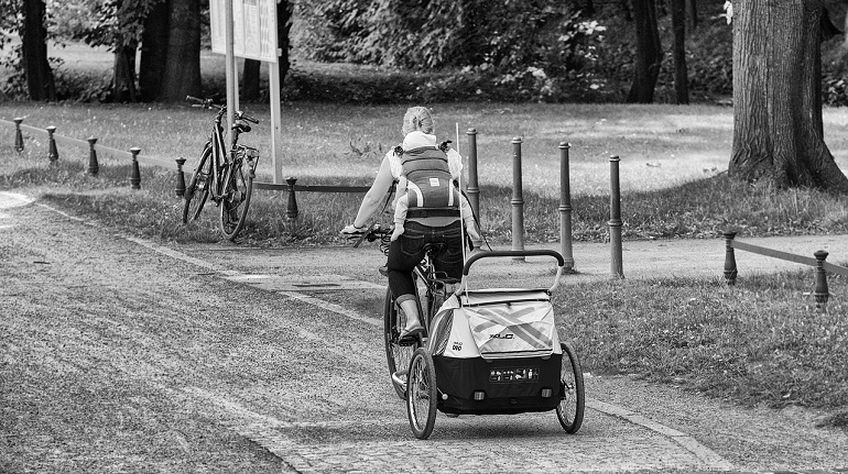 mother cycling with her baby